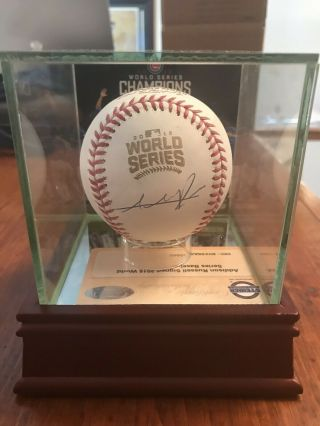 Addison Russell Cubs 2016 World Series Signed Baseball With Case & Image Steiner