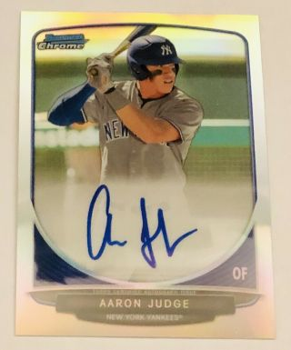 2013 Aaron Judge Bowman Chrome Draft Picks Auto Refractor True Rookie Card