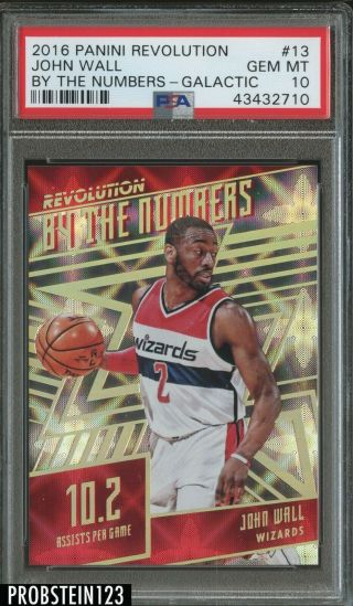 2016 - 17 Panini Revolution Galactic By The Numbers John Wall Wizards Ssp Psa 10