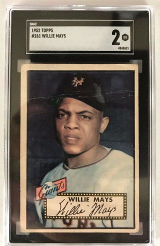 1952 Topps 261 Willie Mays Giants Sgc 2 Gd - Sharp Image - Hot Card