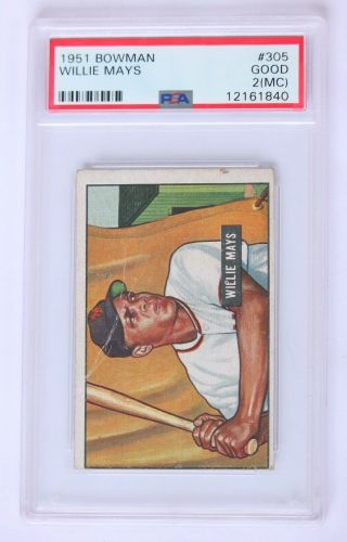 1951 Bowman 305 Willie Mays Rc Rookie Card Graded Psa 2 Good Giants Hof Legend