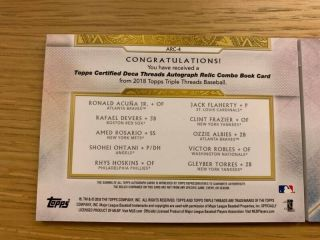 2018 Topps Triple Threads Rc Deca Auto Patch Relic Book Rc Ohtani / Acuna 08/10