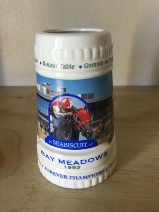 """Famous Bay Meadows Race Track Limited Edition """" Forever Champions """" 1993 Mug"""