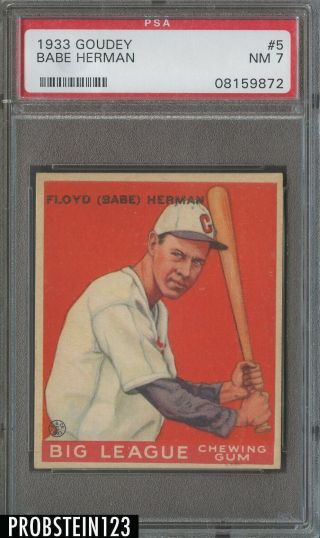 1933 Goudey 5 Babe Herman Chicago Cubs Psa 7 Nm