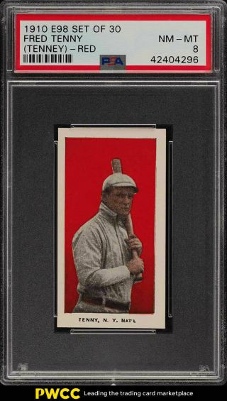 1910 E98 Set Of 30 Red Fred Tenney Psa 8 Nm - Mt (pwcc)