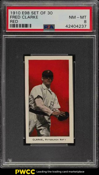 1910 E98 Set Of 30 Red Fred Clarke Psa 8 Nm - Mt (pwcc)