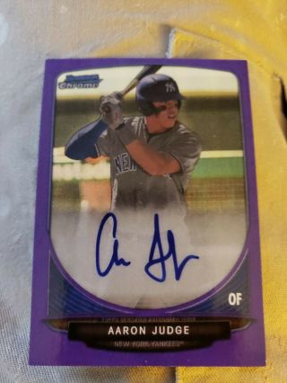 2013 Aaron Judge Bowman Chrome Rp Rookie Auto Purple Refractor 6/10 Yankees Read
