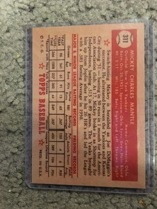 1952 Topps 311 Mickey Mantle Rookie Card RC York Yankees MLB 2
