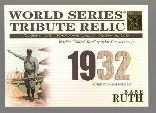 2003 Topps Tribute World Series Relic Tr - Br Babe Ruth 1932 Ws Bat 195/425 Rare