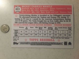 1952 Topps 311 Mickey Mantle Rookie RC Reprint Card 5