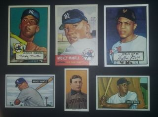 1951 Bowman Mickey Mantle 1951 Bowman Willie Mays 1952 Topps Mickey Mantle,