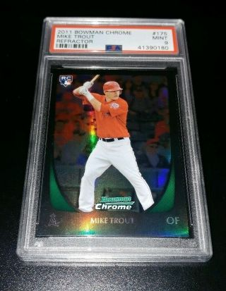 2011 Bowman Chrome Mike Trout Rookie Refractor Psa 9 Red Jersey Beauty