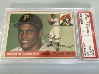 1955 Topps Roberto Clemente 164 Rookie Card Psa 2.  5 Good,