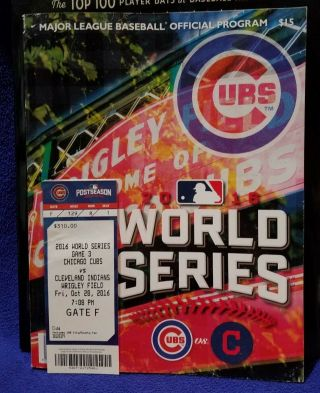 2016 World Series Game 3 Ticket & Scored Program Indians @ Chicago Cubs Wrigley