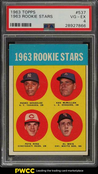 1963 Topps Pete Rose Rookie Rc 537 Psa 4 Vgex (pwcc)