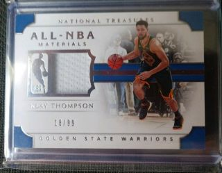 2018 - 19 National Treasures Klay Thompson All Nba Materials Game Worn Jsy Swatch