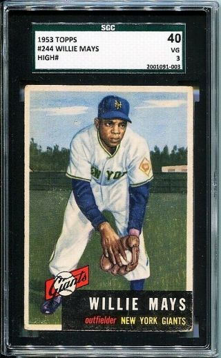 1953 Topps Willie Mays Short Print 244 Sgc 3 / Vg - Great Centering