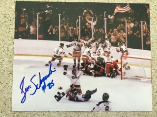 Buzz Schneider Usa Olympic Hockey Miracle On Ice Autographed 8x10 Celebration
