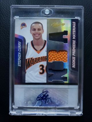 2009 - 10 Stephen Curry Absolute Memorabilia Rc Auto/autograph Jersey Rookie Card