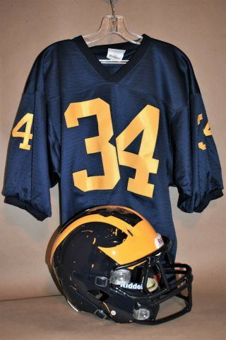 Michigan Wolverines Full Size Football Helmet With Jersey.