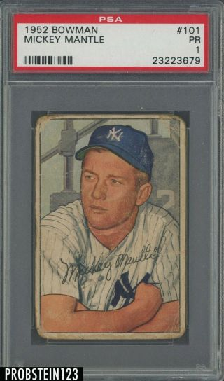 1952 Bowman 101 Mickey Mantle Yankees Hof Psa 1 Pr