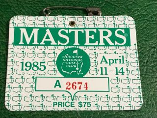 1985 Masters Badge Bernhard Langer Champion Augusta National Ticket Souvenir