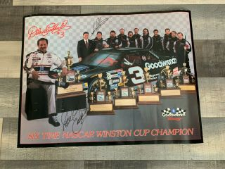 Historic Dale Earnhardt 6 - Time Champion Poster W/large Dale Earnhardt Signature