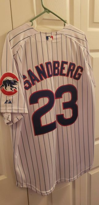 Ryen Sandberg Majestic Authentic Cool Base Baseball Jersey Chicago Cubs Sz 52