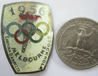 Old Olympic Pin Badge Australia Melbourne Stockholm Cortina 1956 Brass Screwback