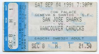 Sept 14,  1991 San Jose Sharks 1st Ever Home Game Vs.  Canucks Ticket Stub