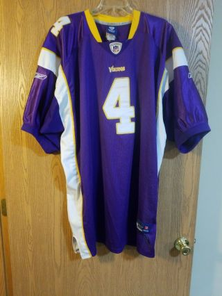 Reebok On Field Favre 4 Minnesota Vikings Sewn Jersey Size 60