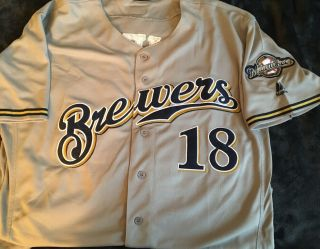 Milwaukee Brewers Keston Hiura Jersey Size 48