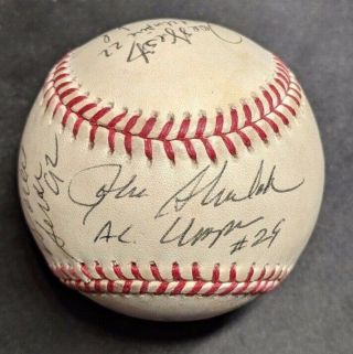 1992 World Series Baseball Hand Signed By 6 Umpires Autographed