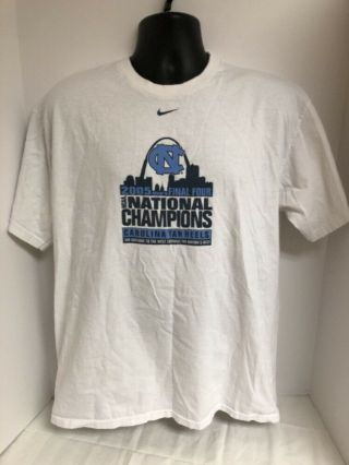Vtg Nike 2005 North Carolina Tar Heels Ncaa National Champions Bracket Shirt Lg