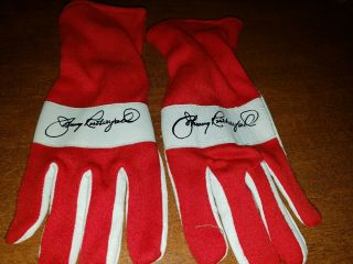 Indycar Red Racing Gloves Size L/xl Signed By Johnny Rutherford