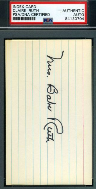 Mrs Babe Ruth Psa Dna Autograph 3x5 Index Card Authentic Hand Signed