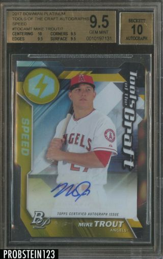 2017 Bowman Platinum Tools Of The Craft Speed Mike Trout Auto 1/7 Bgs 9.  5