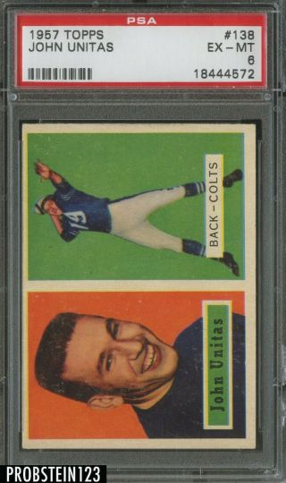 1957 Topps Football 138 Johnny Unitas Colts Rc Rookie Hof Psa 6 Ex - Mt