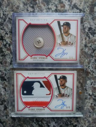 2019 Definitive (two 1/1) George Srringer Game Memorabilia With One Being A
