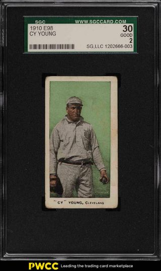 1910 E98 Set Of 30 Green Cy Young Sgc 2 Gd (pwcc)