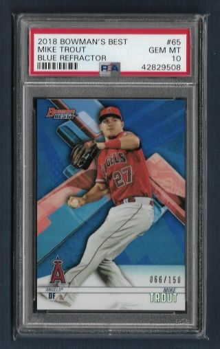 2018 Bowman's Best Blue Refractor Mike Trout Psa 10 Gem Angels 66/150 Pop 1