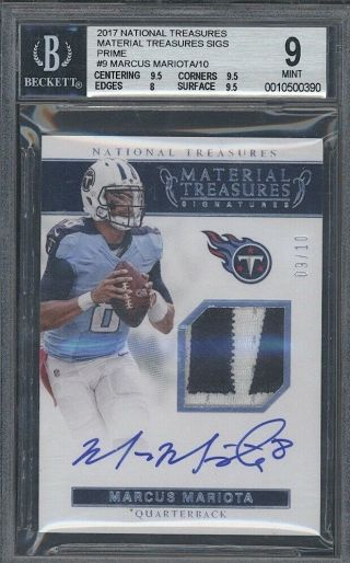 2017 National Treasures Marcus Mariota Autograph Auto Patch 9/10 Bgs 9 Titans