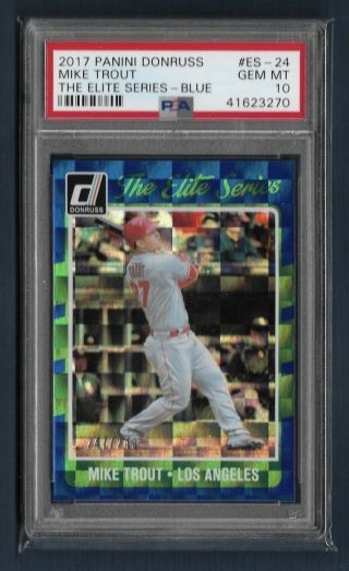2017 Donruss Elite Series Blue Mike Trout Psa 10 Gem Angels 247/249 Pop 4
