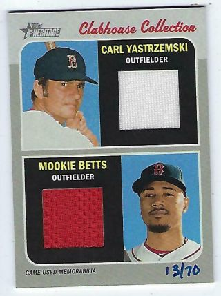 2019 Topps Heritage Carl Yastrzemski Mookie Betts Dual Jersey 13/70 Red Sox