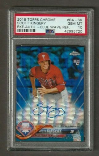 2018 Topps Chrome Blue Wave Refractor Rookie Auto Scott Kingery /150 Psa 10