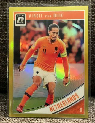 18 - 19 Donruss Soccer - Virgil Van Dijk - Optic Gold Prizm 07/10 Ucl Winner