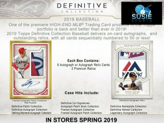 Johnny Bench 2019 Topps Definitive Baseball Full Case,  2 Boxes 5x Break