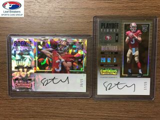 2017 Contenders C.  J.  Beathard Rookie Playoff / Cracked Ice Auto Rc /25 [gf]