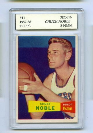 1957 - 58 Topps Chuck Noble 11 Slabbed Basketball Card Celtics Psa 8 - Nmm