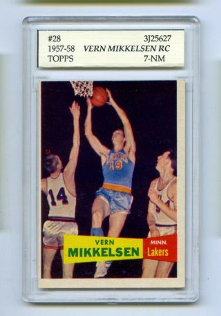 1957 - 58 Topps Vern Mikkelsen 28 Slabbed Basketball Card Lakers Psa 7 Nm